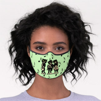 Three Musical Black Cats Music Notes Green Premium Face Mask