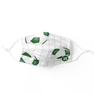 three soccer balls in goal green white team colors adult cloth face mask