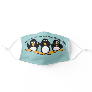 Three Wise Penguins Design Graphic | Blue Adult Cloth Face Mask