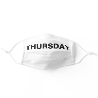 Thursday Solid Plain Black and White Color Adult Cloth Face Mask