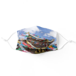 Tibetan Temple with prayer flags - Yunnan, China Adult Cloth Face Mask
