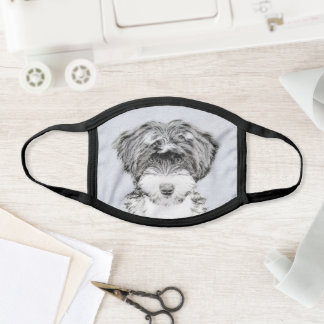 Tibetan Terrier Painting - Cute Original Dog Art Face Mask