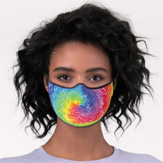 Tie Dye Pattern, Trendy Colorful Abstract Rainbow Premium Face Mask