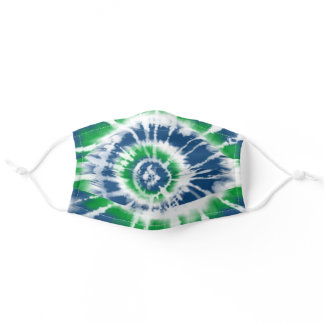 Tie Dye Spiral, Green and Blue Adult Cloth Face Mask