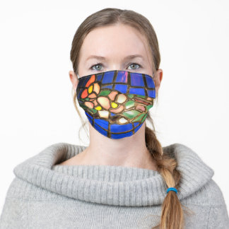 Tiffany Dogwood stain glass pattern Adult Cloth Face Mask