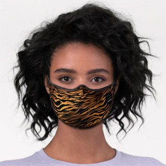 Tiger Animal Skin Copper Black Logo Name Premium Face Mask
