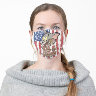 Tom & Jerry With US Flag Adult Cloth Face Mask