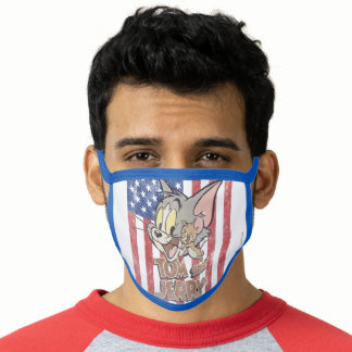 Tom & Jerry With US Flag Face Mask