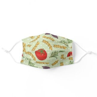 Tomato Pasta Pattern Green Cute Food Lover Adult Cloth Face Mask