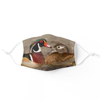 Touching Moment Between Wood Ducks Adult Cloth Face Mask