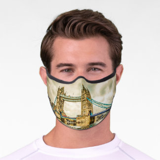 Tower Bridge London Fine Art Vintage Travel Premium Face Mask