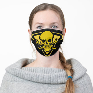 Toxic Grinning Bio Hazard Skull Adult Cloth Face Mask