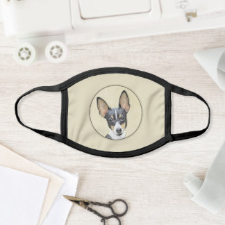 Toy Fox Terrier Painting - Cute Original Dog Art Face Mask