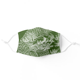 Traditional Chinese Dragon Drawing Olive Green Adult Cloth Face Mask