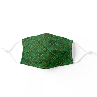 Traditional Green Gold Christmas Plaid Diagonal Adult Cloth Face Mask