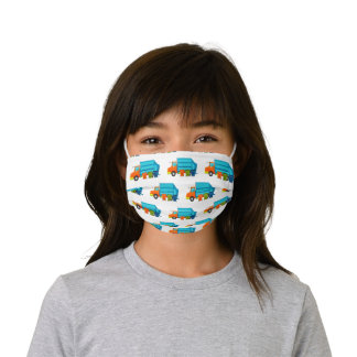 Trash Truck Kids Face Mask with Blue Garbage Truck