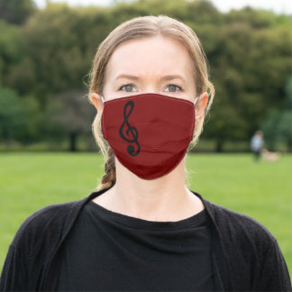 Treble Clef Musical Note Music Plain Maroon Cute Adult Cloth Face Mask
