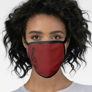 Treble Clef Musical Note Music Plain Maroon Cute Face Mask
