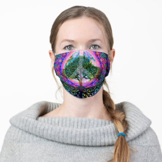 Tree of Life with Peace Symbol Adult Cloth Face Mask