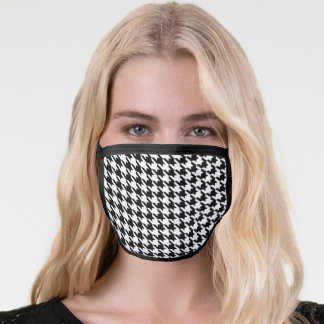 Trendy black and white hounds tooth fashion print face mask