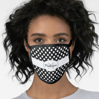 Trendy Black and White polka dots pattern Monogram Face Mask