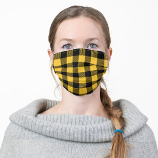 Trendy Black and Yellow Buffalo Plaid Check Modern Adult Cloth Face Mask