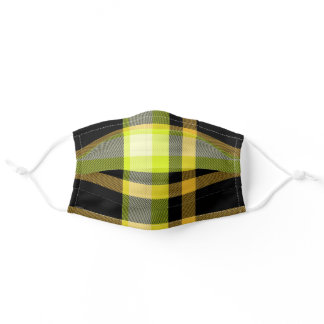 Trendy Black and Yellow Plaid Tartan Modern Adult Cloth Face Mask