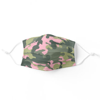Trendy Cute Pink and Army Green Camo Reusable Adult Cloth Face Mask