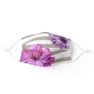 Trendy daisies white striped wood add name adult cloth face mask