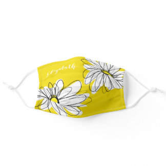 Trendy Daisy Floral Illustration - black yellow Adult Cloth Face Mask