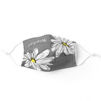 Trendy Daisy Floral Illustration - gray and yellow Adult Cloth Face Mask