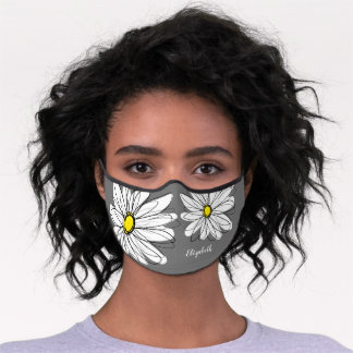 Trendy Daisy Floral Illustration - gray and yellow Premium Face Mask