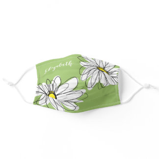 Trendy Daisy Floral Illustration - green yellow Adult Cloth Face Mask