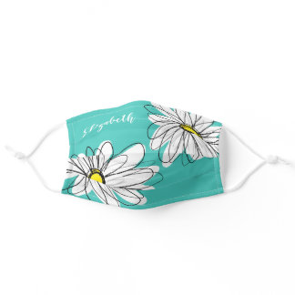 Trendy Daisy Floral Illustration - teal and yellow Adult Cloth Face Mask