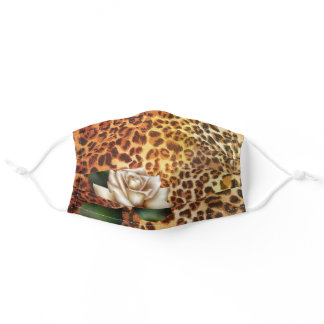 trendy girly chic white rose leopard print adult cloth face mask
