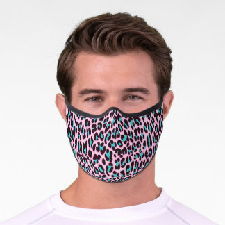 Trendy Girly Pink Leopard Cheetah Animal Print Premium Face Mask