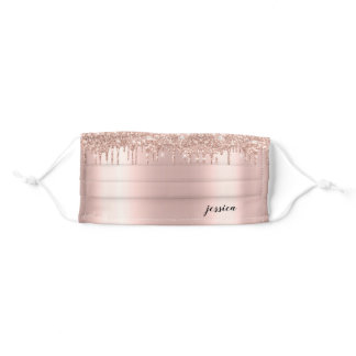 Trendy Glitter Drips Rose Gold Custom Name Adult Cloth Face Mask