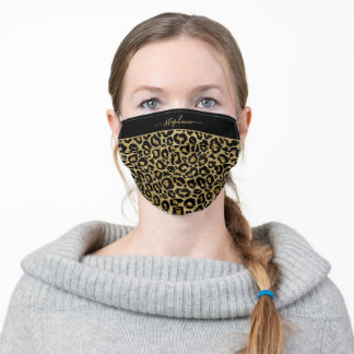 Trendy Gold Glitter Leopard Animal Print Monogram Adult Cloth Face Mask