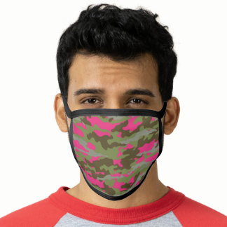 Trendy Hot Pink Army Green Camo Pattern Face Mask