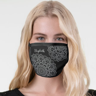 Trendy Mandala Illustration black gray signature Face Mask