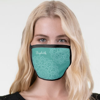 Trendy Mandala Illustration teal blue signature Face Mask