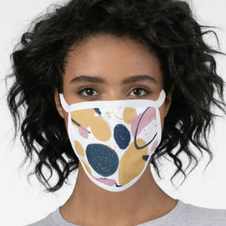 Trendy Pink Blue Strokes Abstract Creative Art Face Mask