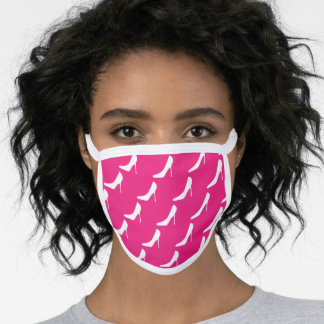 Trendy pink face mask with high heel shoe pattern