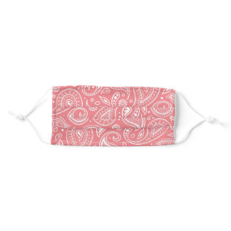 Trendy Pink Floral Paisley Adult Cloth Face Mask