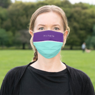 Trendy Purple and Teal Green Monogram Adult Cloth Face Mask