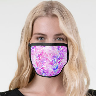 Trendy Purple blue henna floral mandala pattern Face Mask
