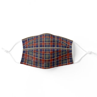 Trendy Red Yellow Blue Tartan Plaid Adult Cloth Face Mask
