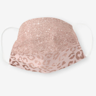 Trendy rose gold glitter blush ombre leopard cloth face mask