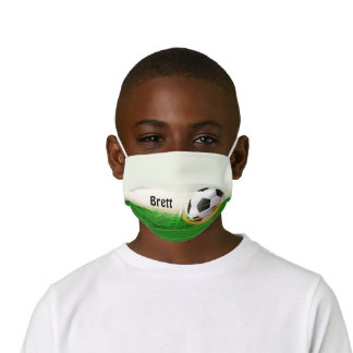 Trendy Soccer Ball Fire Monogram Kids' Cloth Face Mask