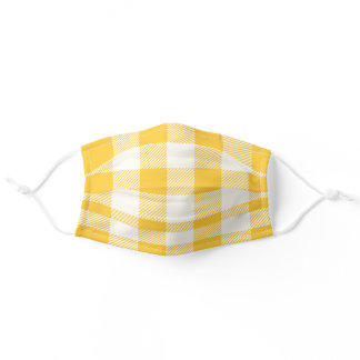 Trendy White and Mustard Yellow Buffalo Plaid Adult Cloth Face Mask